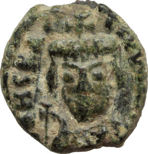 D/ Heraclius (610-641).  AE 10 Nummi, year 8 (617-618 AD), Catania mint. Obv. Crowned, draped and cuirassed bust facing holding globus cruciger. Rev. Large I between A/N/N/O and GIII; in exergue, CAT. MIB 240. Sear 885. AE. g. 2.28  mm. 13.00    VF.