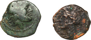 D/ Greek Italy and Punic Sicily.  Multiple lot of two (2) unclassified AE coins.    AE.      F:VF.
