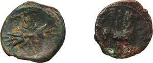 R/ Greek Italy and Punic Sicily.  Multiple lot of two (2) unclassified AE coins.    AE.      F:VF.