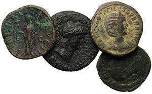 D/ Roman Empire.  Multiple lot of four (4) unclassified AE Sestertii of Nero (Decursio) Gordian III, Philip I and Otacilia Severa.    AE.      F:VF.