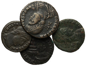 D/ Roman Empire. Constantine I and his family.  Multiple lot of five (5) unclassified AE coins of Constantine I, Fausta and Constantius II.    AE.      VF.