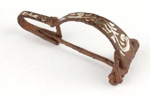 D/  Roman iron fibula with silver inlays. I-II century AD. 70 mm.
