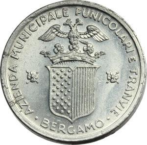 D/ Bergamo. Repubblica Sociale Italiana - Azienda Municipale Funicolari e Tramvie. Buono da 20 (centesimi, 1944).     AL.      SPL.