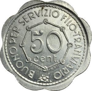 R/ Como. Repubblica Sociale Italiana  S.T.E.  C.A.V. Buono per Servizio Filo-Tramviario da 50 centesimi 1944/XXII.     AL.      FDC.