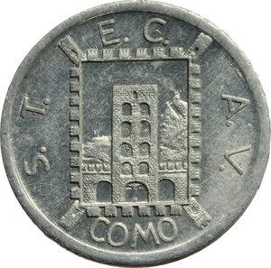 D/ Como. Repubblica Sociale Italiana  S.T.E.  C.A.V. Buono per Servizio Filo-Tramviario da 20 centesimi 1944/XXII.     AL.      SPL.