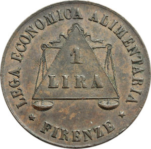 R/ Firenze. Lega Economica Alimentaria. Tessera.     AE.      qSPL.