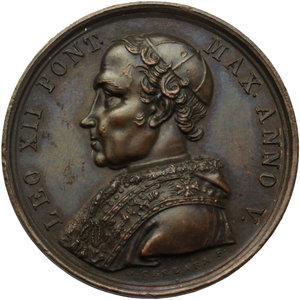 D/ Leone XII (1823 - 1829), Annibale Sermattei della Genga. Medaglia A.V BENEMERENTI.    Patr.69. AE.   mm. 32.00    SPL.