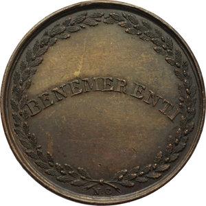 R/ Leone XII (1823 - 1829), Annibale Sermattei della Genga. Medaglia A.V BENEMERENTI.    Patr.69. AE.   mm. 32.00    SPL.