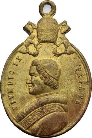 D/ Pio IX  (1846-1878), Giovanni Mastai Ferretti. Medaglia portativa VIVA PIO IX PAPA RE.     AE dorato.   mm. 44.00    SPL.