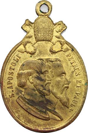 R/ Pio IX  (1846-1878), Giovanni Mastai Ferretti. Medaglia portativa VIVA PIO IX PAPA RE.     AE dorato.   mm. 44.00    SPL.