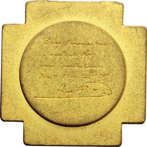 R/ Pio X (1903-1914), Giuseppe Melchiorre Sarto. Medaglia 1908 per il Giubileo Sacerdotale (32x32 mm).    Manca sui testi consultati. Metallo dorato.   Inc. R. Marschall. R.  qSPL.