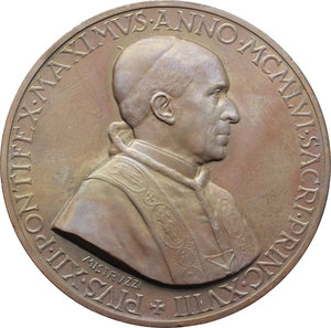 D/ Pio XII (1938-1959), Eugenio Pacelli. Medaglia 1956, A. XVIII.    Cus.-Mod. 251. AE.   mm. 44.00 Inc. Aurelio Mistruzzi.  In scatoletta originale. FDC.