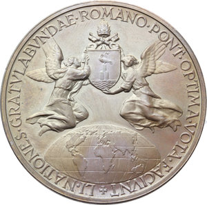 R/ Pio XII (1938-1959), Eugenio Pacelli. Medaglia 1956, A. XVIII.    Cus.-Mod. 251. AE.   mm. 44.00 Inc. Aurelio Mistruzzi.  In scatoletta originale. FDC.