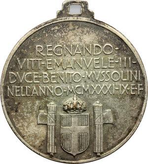 D/ Milano. Vittorio Emanuele III (1900-1943). Medaglia 1931- IX per la nuova stazione di Milano.     AE argentato.   mm. 32.00  RR.  BB+.