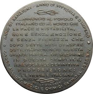 R/  Medaglia 1936-XIV ANNO DI SANZIONI ANNO DI VITTORIA E DI IMPERO.     AE.   mm. 40.00 Inc. C. Rivalta.   SPL.