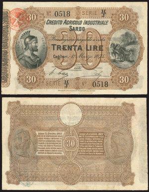 D/ BANCONOTE. Credito Agricolo Industriale Sardo. 30 lire 1874. BB/SPLStima: 40-50