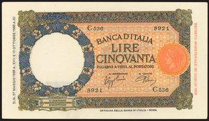 D/ BANCONOTE. Banca d'Italia. 50 lire 27/05/1939. FDSStima: 200-220