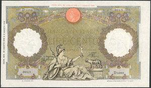 D/ BANCONOTE. Banca d'Italia 100 lire 23/08/1943. SPLStima: 200-250