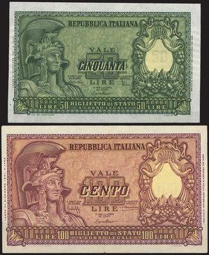D/ BANCONOTE. Repubblica Italiana. 100 e 50 lire 31/12/1951. Lotto di due banconote. SPLStima: 50-60