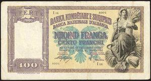 D/ BANCONOTE. Albania. 100 franchi e 20 franchi. In lotto con 50 lire 12/IX/1938-XVI, serie speciale Africa Orientale Italiana. Tre banconote. Mediamente BBStima: 100-120