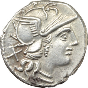 D/ P. Aelius Paetus.  AR Denarius, 138 BC. Obv. Helmeted head of Roma right; behind, X. Rev. The Dioscuri galloping right; below, P. PAETVS; in exergue, ROMA. Cr. 233/1. AR. g. 3.73  mm. 19.00   Perfectly centred, brilliant and superb. Good EF.