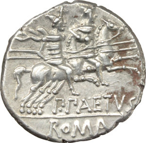 R/ P. Aelius Paetus.  AR Denarius, 138 BC. Obv. Helmeted head of Roma right; behind, X. Rev. The Dioscuri galloping right; below, P. PAETVS; in exergue, ROMA. Cr. 233/1. AR. g. 3.73  mm. 19.00   Perfectly centred, brilliant and superb. Good EF.