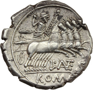 R/ L. Antestius Gragulus.  AR Denarius, 136 BC. Obv. Helmeted head of Roma right; behind, GRAG; below chin, X;. Rev. Jupiter in quadriga right; below horses, L. ANTES; in exergue, ROMA. Cr. 238/1. B.9. AR. g. 3.82  mm. 20.00   Brilliant and superb. Lovely light cabinet tone. Good VF.