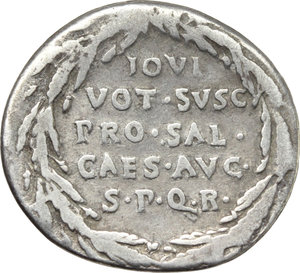 R/ Augustus (27 BC - 14 AD).  AR Denarius, Colonia Patricia mint (?), struck c. 20-19 BC. Obv. Bare head of Augustus right. Rev. IOVI/VOT SVSC/PRO SAL/CAES AVG/ SPQR in five lines within oak-wreath. RIC 57. BMC 430. AR. g. 3.52  mm. 20.00  RRR. Extremely rare. Lightly toned with iridescent hues. F/About VF. For dating of this issue, see RIC I, 57, note.