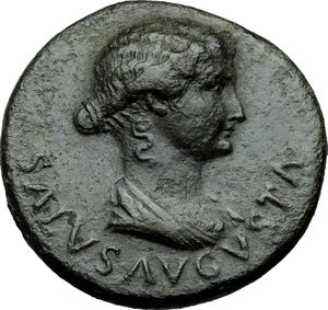D/ Livia, wife of Augustus (Augusta 14-29 AD.).  AE Dupondius, struck under Tiberius, 22-23 AD. Obv. SALVS AVGVSTA . Bare-headed and draped bust of Julia Augusta (Livia) as Salus right. Rev. TI CAESAR DIVI AVG F AVG P M TR POT XXIIII around large S C. RIC (Tib.) 47. AE. g. 13.89  mm. 29.00  Scarce.  About EF.