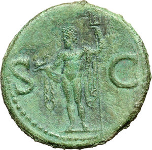 R/ Agrippa (died in 12 A.D.).  AE As, struck under Gaius, circa 37-41 AD. Obv. M AGRIPPA·L·F·COS·III. Head left, wearing rostral crown. Rev. S-C. Neptune standing left, cloaked, holding small dolphin and trident. RIC (Gaius) 58. AE. g. 11.46  mm. 28.00    EF/About EF.