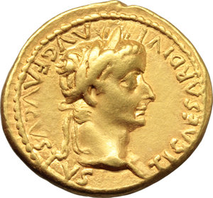 D/ Tiberius (14-37).  AV Aureus, Lugdunum mint, 18-35 AD. Obv. TI CAESAR DIVI AVG F AVGVSTVS. Laureate head right. Rev. PONTIF MΛXIM. Livia (as Pax) seated right on chair, feet on footstool, holding sceptre and olive branch. RIC 29. Lyon 149. Calicò 305 b. AV. g. 7.74  mm. 20.00   A very attractive example, from elegantly engraved dies, brilliant and superb. About EF/EF.
