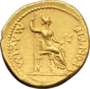 R/ Tiberius (14-37).  AV Aureus, Lugdunum mint, 18-35 AD. Obv. TI CAESAR DIVI AVG F AVGVSTVS. Laureate head right. Rev. PONTIF MΛXIM. Livia (as Pax) seated right on chair, feet on footstool, holding sceptre and olive branch. RIC 29. Lyon 149. Calicò 305 b. AV. g. 7.74  mm. 20.00   A very attractive example, from elegantly engraved dies, brilliant and superb. About EF/EF.