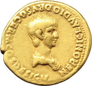 D/ Nero as Caesar (50-54).  AV Aureus, struck under Claudius. Rome mint, 51-54 AD. Obv. NERONI CLAVDIO DRVSO GERM COS DESIGN. Bare-headed and draped young bust right. Rev. EQVESTER/OR-DO/PRINCIPI/IVVENT in four lines, inscribed on round shield behind which is spear. RIC (Claud.) 78. Calicò 407. AV. g. 7.59  mm. 19.50  RR. A very rare early Nero Aureus. Wonderful warm toning with reddish hues. Good VF/VF.
