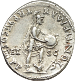 R/ Nero (54-68).  AR Denarius, Lugdunum mint. Struck 60-61 AD. Obv. NERO CAESAR AVG IMP. Bare head right. Rev. PONTIF MAX TR P VII COS IIII PP EX SC. Roma standing right, holding and inscribing shield supported on knee, foot on helmet; dagger and bow at feet to right. RIC 28 (Rome). Lyon 28. BN 40. AR. g. 3.72  mm. 19.00  RRR. Very rare. Good metal and superb. Delightful light toning with golden hues. EF.