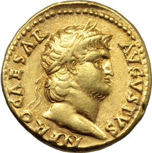 "D/ Nero (54-68).  AV Aureus, Rome mint, struck c. 64-65 AD. Obv. NERO CAESAR AVGVSTVS. Laureate head right. Rev. IVPPITER CVSTOS. Jupiter seated left, holding thunderbolt and sceptre. RIC 52. Calicò 412. AV. g. 7.31  mm. 18.50  R. A magnificent portrait. Underlying luster. EF. This reverse type commemorates the protection of Nero from the Pisonian Conspiracy. Events of the years AD 64-65 defined the subsequent reputation of Nero as a cruel and self-indulgent ruler. His ""excesses"" resulted in a conspiracy to overthrow and replace him with Gaius Calpurnius Piso. Among the conspirators were many high-ranking members of Nero's court, including Seneca the Younger, the poet Lucan, and Petronius (Nero's self-proclaimed ""arbiter of elegance""). To Nero, the failure of a conspiracy made up of those so close to him could have been achieved only through divine intervention. As the king of the Gods oversaw the security of the Roman state, Nero believed it was Jupiter the Guardian (Custos) who had saved him from harm. (Triton XX, 672)."