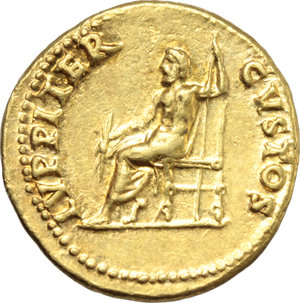 "R/ Nero (54-68).  AV Aureus, Rome mint, struck c. 64-65 AD. Obv. NERO CAESAR AVGVSTVS. Laureate head right. Rev. IVPPITER CVSTOS. Jupiter seated left, holding thunderbolt and sceptre. RIC 52. Calicò 412. AV. g. 7.31  mm. 18.50  R. A magnificent portrait. Underlying luster. EF. This reverse type commemorates the protection of Nero from the Pisonian Conspiracy. Events of the years AD 64-65 defined the subsequent reputation of Nero as a cruel and self-indulgent ruler. His ""excesses"" resulted in a conspiracy to overthrow and replace him with Gaius Calpurnius Piso. Among the conspirators were many high-ranking members of Nero's court, including Seneca the Younger, the poet Lucan, and Petronius (Nero's self-proclaimed ""arbiter of elegance""). To Nero, the failure of a conspiracy made up of those so close to him could have been achieved only through divine intervention. As the king of the Gods oversaw the security of the Roman state, Nero believed it was Jupiter the Guardian (Custos) who had saved him from harm. (Triton XX, 672)."