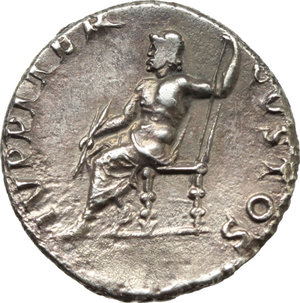 R/ Nero (54-68).  AR Denarius, Rome mint, struck c. 64-65 AD. Obv. NERO CAESAR AVGVSTVS. Laureate head right. Rev. IVPPITER CVSTOS. Jupiter seated left, holding thunderbolt and sceptre. RIC 53. AR. g. 3.19  mm. 17.50  R. A superb example, with underlying luster and magnificent light iridescent cabinet tone. Insignificant minor area of flatness on reverse, otherwise EF.