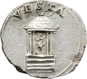 R/ Nero (54-68).  AR Denarius, Rome mint, struck c. 65-66 AD. Obv. NERO CAESAR AVGVSTVS. Laureate head right. Rev. VESTA. Hexastyle temple faςade; within, Vesta seated left on throne, holding patera and long sceptre. RIC 62. AR. g. 3.48  mm. 19.00  R. An outstanding example, perfectly centred on unusually broad flan. Great metal, with underlying luster. From fresh, exceptionally detailed and masterly engraved dies. Very rare in this amazing condition. Good EF/About FDC.