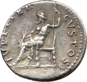 R/ Nero (54-68).  AR Denarius, Rome mint, struck c. 66-67 AD. Obv. IMP NERO CAESAR AVGVSTVS. Laureate head right. Rev. IVPPITER CVSTOS. Jupiter seated left, holding thunderbolt and sceptre. RIC 64. AR. g. 3.36  mm. 17.50  RRR. Rare and in exceptional condition for issue. Enchanting iridescent old cabinet tone, with golden hues. EF.