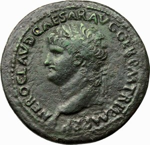 D/ Nero (54-68).  AE Sestertius, 64 AD. Obv. NERO CLAVD CAESAR AVG GER PM TR P P(sic)MP PP. Laureate head left. Rev. SC. Nero, bare-headed, cuirassed and with cloak floating free, prancing left on horseback, holding spear; beyond and behind him, mounted soldier prancing left with vexillum held over right shoulder; in exergue, DECVRSIO. RIC 168. AE. g. 28.56  mm. 35.00  R. Green patina. VF.