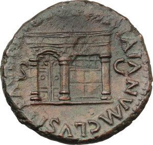 R/ Nero (54-68).  AE As, Rome mint. Obv. NERO CAESAR AVG GERM [IMP]. Laureate head left. Rev. PACE PR [ ]TA IANVM CLVSIT SC. View of one front of the temple of Janus with closed double doors to left. RIC 310. AE. g. 10.98  mm. 27.00  R. Rare. A magnificent portrait. Reddish brown patina. Good VF.