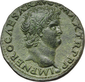 D/ Nero (54-68).  AE As, Lugdunum mint. Obv. IMP NERO CAESAR AVG P MAX TR PPP. Bare head right. Rev. SC. Victory flying left, holding shield inscribed SPQR. RIC 543. AE. g. 9.82  mm. 28.50   An excellent portrait. Lovely green patina. EF/About EF.