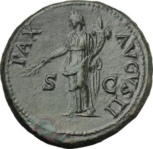 R/ Vespasian (69-79).  AE Sestertius, 71 AD. Obv. IMP CAES VESPAS AVG PM TR P PP COS III. Laureate head right. Rev. PAX AVGVSTI SC. Pax standing left holding branch and cornucopiae. RIC 437. AE. g. 27.77  mm. 33.00   A bold portrait of fine style. Olive-green patina. Gently smoothed, otherwise about EF.