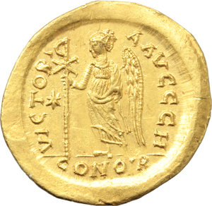 R/ Anastasius I (491-518).  AV Solidus, Constantinople, c. 507-508. Obv. DN ANASTASIVS PP AVC. Helmeted and cuirassed bust three-quarter facing to right, holding spear and shield. Rev. VICTORIA AVCCC H. Victory standing left, holding long staff ending with Chi Rho-gram inverted; to left, star; in exergue, CONOB. D.O. 6. MIB 6. Sear 4. AV. g. 4.45  mm. 20.50  RR. Very rare, brilliant and superb.  EF. This issue marks the 500th anniversary of the birth of Christ celebrated in 500 AD. according to the Anno Domini Eras calculated by Dionysius Exigius (Cf. MIRB 01.12.2009, lot 3047 and note).