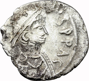 D/ Justinian I (527-565).  AR Half Siliqua. Carthage mint. Obv. DN IVSTINIANVS PP AG. Diademed, draped and cuirassed bust right. Rev. VOT/MVLT/HTI within wreath; in exergue, CONOS (sic). DOC 280. Sear 253. AR. g. 1.11  mm. 15.00   Scratches on reverse. About VF.