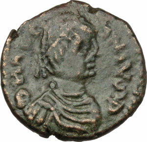 D/ Justinian I (527-565).  AE Decanummium, Rome mint. Obv. DN IVS[TIN]IANVS P. Diademed, draped and cuirassed bust right. Rev. Large I surmounted by cross, between two stars; all within wreath. B.N. 20. MIB 225. D.O.-. Sear 306. R.-. AE. g. 3.91  mm. 18.00  RR. Very rare. Perfectly centred and in excellent condition for the issue. Brown patina. VF/Good VF.