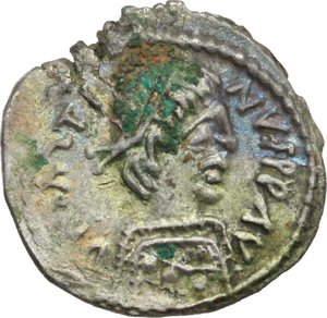 D/ Justin II (565-578).  AR Half Siliqua, Ravenna mint. Obv. DN IΛSTINVS PP AV. Diademed and cuirassed bust right, wearing imperial mantle. Rev. Christogram between two stars; all within wreath. D.O. 215.  Ranieri 425. AR. g. 0.72  mm. 12.00  RR. Slight encrustation. Delicate patina with iridescent hues. Good EF/EF.