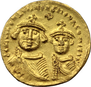 D/ Heraclius (610-641).  AV Solidus. Constantinople mint, 3rd officina. Struck 613-616 AD. Obv. ∂∂ NN ЄRACLIЧS Єτ ЄRAC CONSτ PP. Facing busts of Heraclius and Heraclius Constantine; each wears chlamys an elaborate crown with cross; above, cross. Rev. VICTORIA AVςЧΓ. Cross potent on three steps; in exergue, CONOB. DOC 13. Sear 738. AV. g. 4.44  mm. 19.70    About EF.