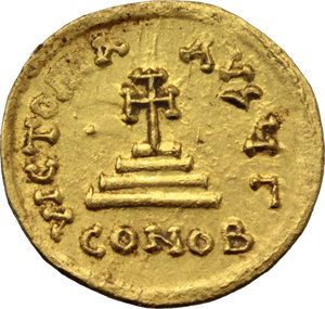 R/ Heraclius (610-641).  AV Solidus. Constantinople mint, 3rd officina. Struck 613-616 AD. Obv. ∂∂ NN ЄRACLIЧS Єτ ЄRAC CONSτ PP. Facing busts of Heraclius and Heraclius Constantine; each wears chlamys an elaborate crown with cross; above, cross. Rev. VICTORIA AVςЧΓ. Cross potent on three steps; in exergue, CONOB. DOC 13. Sear 738. AV. g. 4.44  mm. 19.70    About EF.