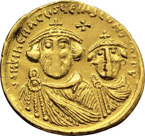 D/ Heraclius (610-641).  AV Solidus, Constantinople mint, 9th officina. Struck circa 616-625 AD. Obv. ∂∂ NN hЄRACLIЧS ЄT hЄRA CONST P P AV. Facing busts of Heraclius and Heraclius Constantine; each wears chlamys and crown with cross. Above, cross. Rev. VICTORIA AVGЧӨ. Cross potent on three steps; in exergue, CONOB. DOC 13h. MIB 11. Sear 738. AV. g. 4.41  mm. 20.50   X graffito on rev. About EF.